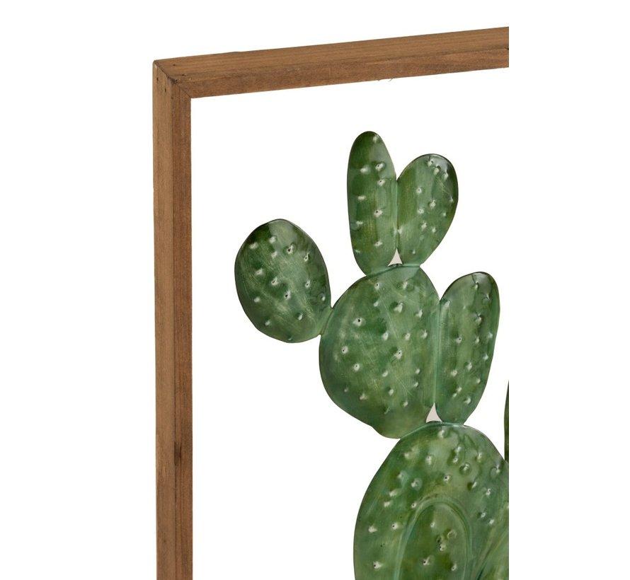 Wanddecoratie Cactussen Metaal Hout Bruin - Groen