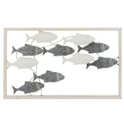 J -Line Wall decoration Swimming Fish Metal Wood White - Gray
