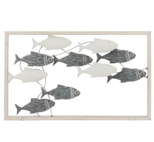 J -Line Wanddecoratie Zwemmende Vissen Metaal Hout Wit - Grijs