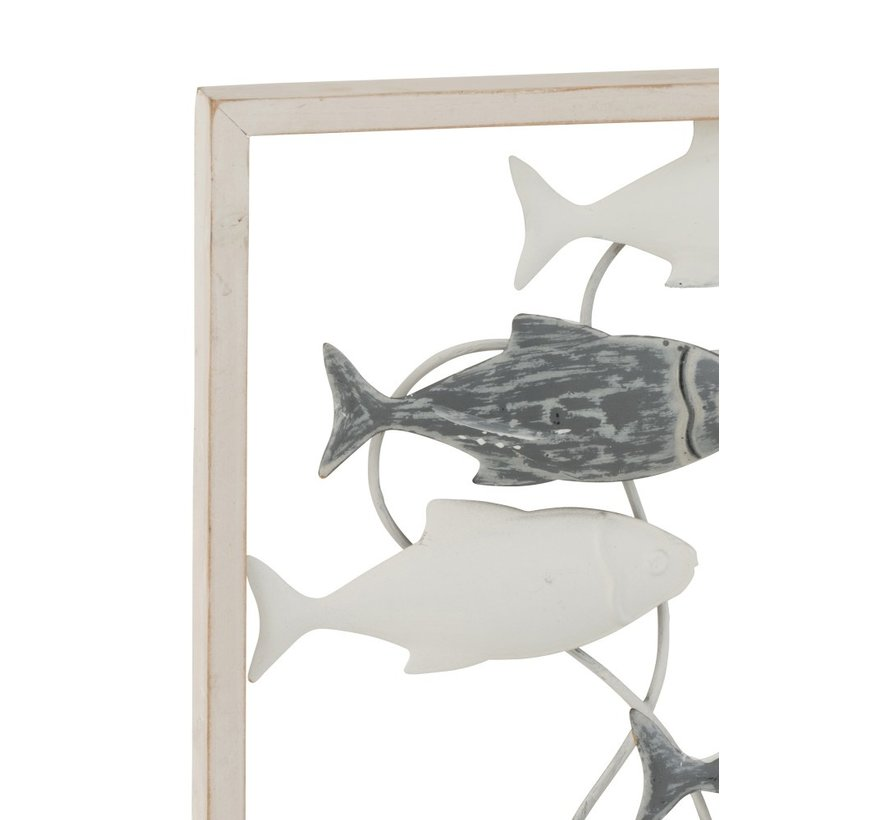 Wanddecoratie Zwemmende Vissen Metaal Hout Wit - Grijs