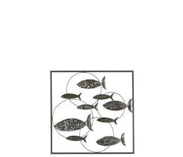 J -Line Wall decoration Circles Swimming Fish Metal - Gray