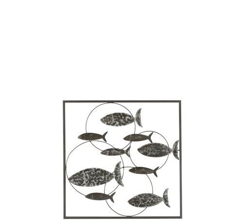 J -Line Wanddecoratie Cirkels Zwemmende Vissen Metaal - Grijs