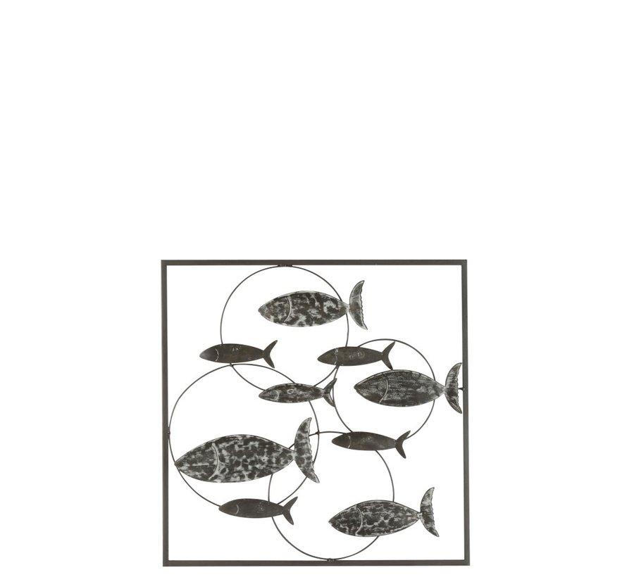 Wanddecoratie Cirkels Zwemmende Vissen Metaal - Grijs