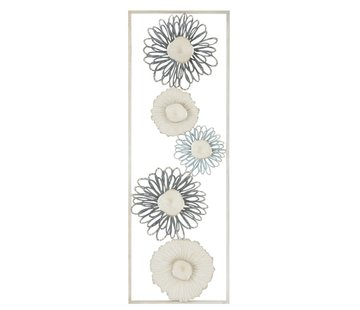 J -Line Wanddecoratie Rechthoek Bloemen Metaal Blauw Grijs - Wit
