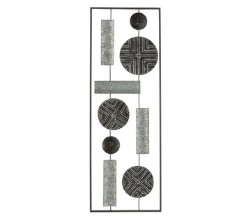 J -Line Wall decoration Rectangle Abstract Metal - Gray