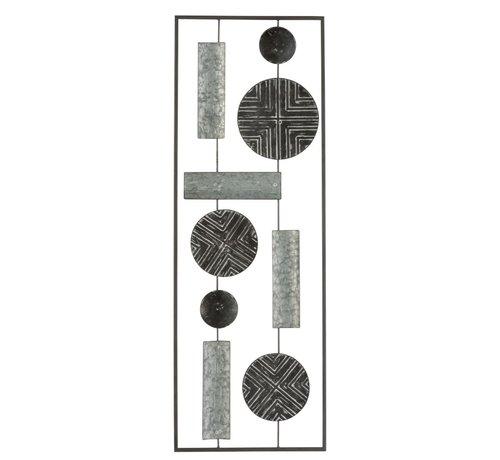 J -Line Wanddecoratie Rechthoek Abstract Metaal - Grijs