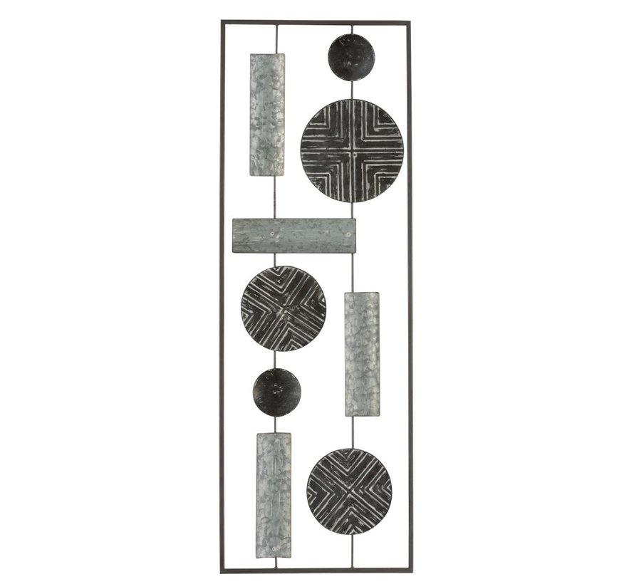 Wanddecoratie Rechthoek Abstract Metaal - Grijs