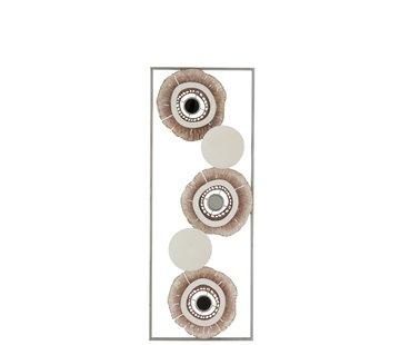 J -Line Wanddecoratie Abstract Cirkels Metaal Wit Goud - Bruin