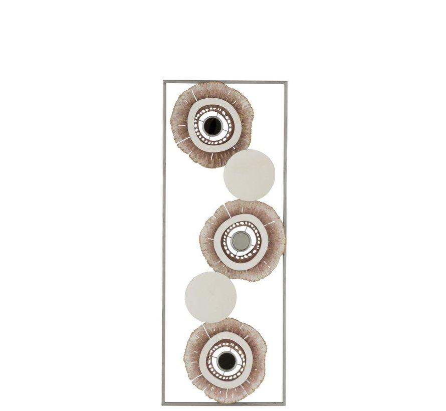 Wanddecoratie Abstract Cirkels Metaal Wit Goud - Bruin