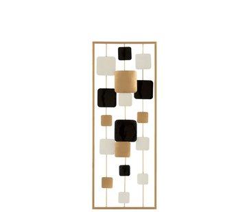 J -Line Wanddecoratie Abstract Vierkanten Metaal Wit Goud - Zwart