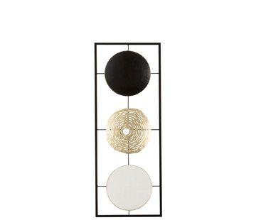 J -Line Wanddecoratie Abstract 3 Cirkels Metaal Wit Goud - Zwart