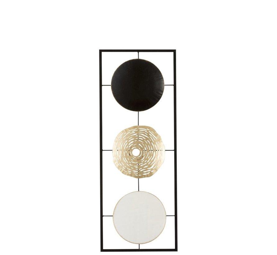 Wanddecoratie Abstract 3 Cirkels Metaal Wit Goud - Zwart
