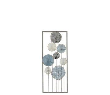 J -Line Wanddecoratie Abstract Bloemen Met Steel Blauw - Wit
