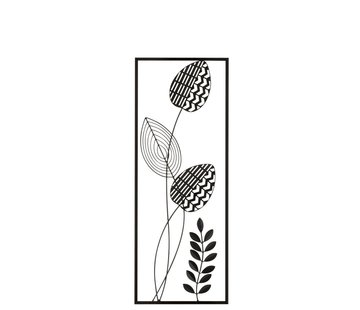 J -Line Wall Decoration Abstract Plant With Stem Black - White