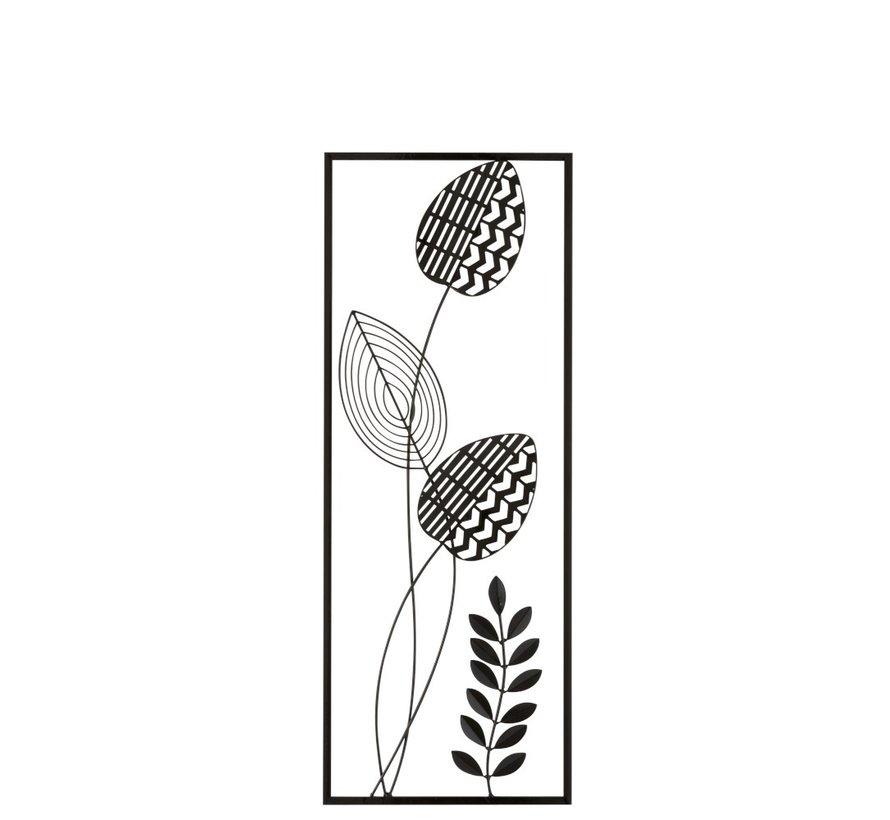 Wanddecoratie Abstract Plant Met Steel Zwart - Wit