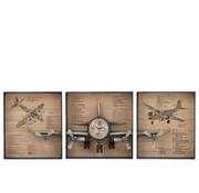 J -Line Wall clock Frame Airplane Three Parts Storage Compartment Metal Wood Brown - Black
