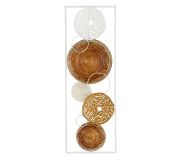 J -Line Wanddecoratie Abstract Metaal 7 Cirkels Wit - Bruin