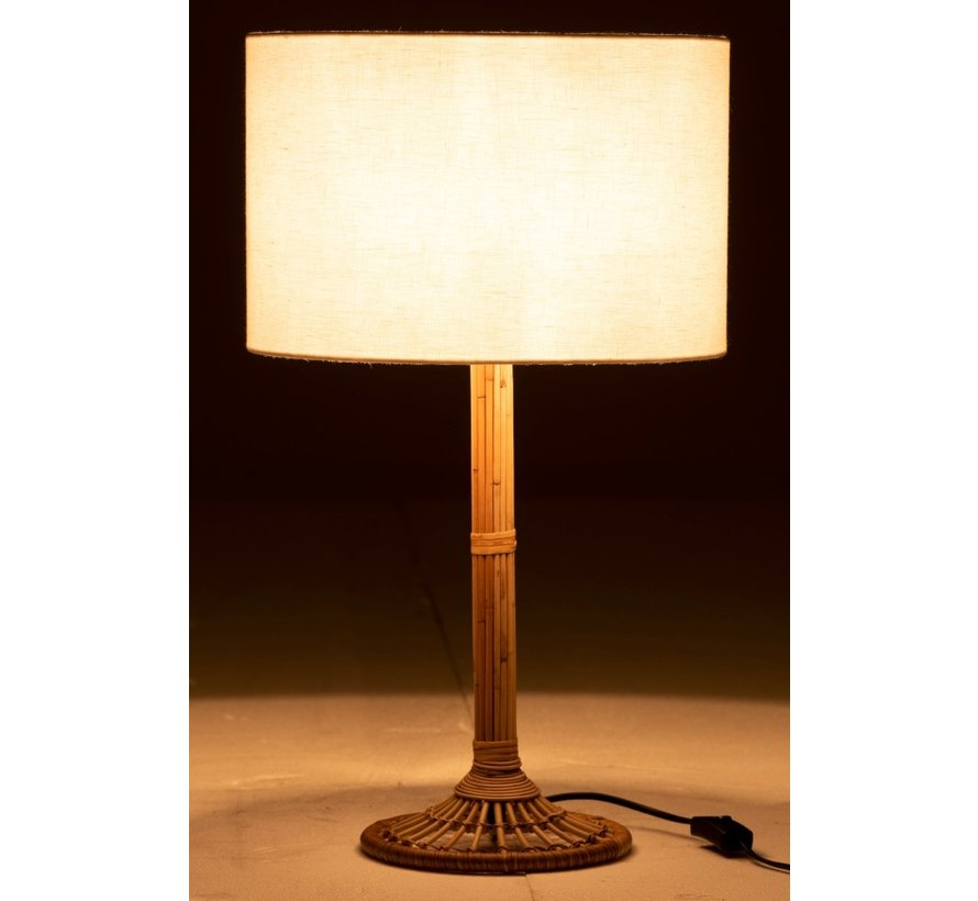 Table lamp White Lampshade Rattan Natural brown - White