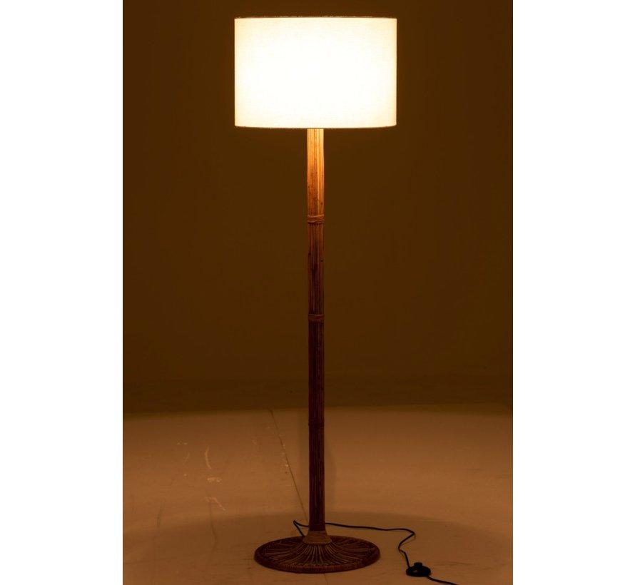 Floor Lamp White Lampshade Rattan Natural Brown - White