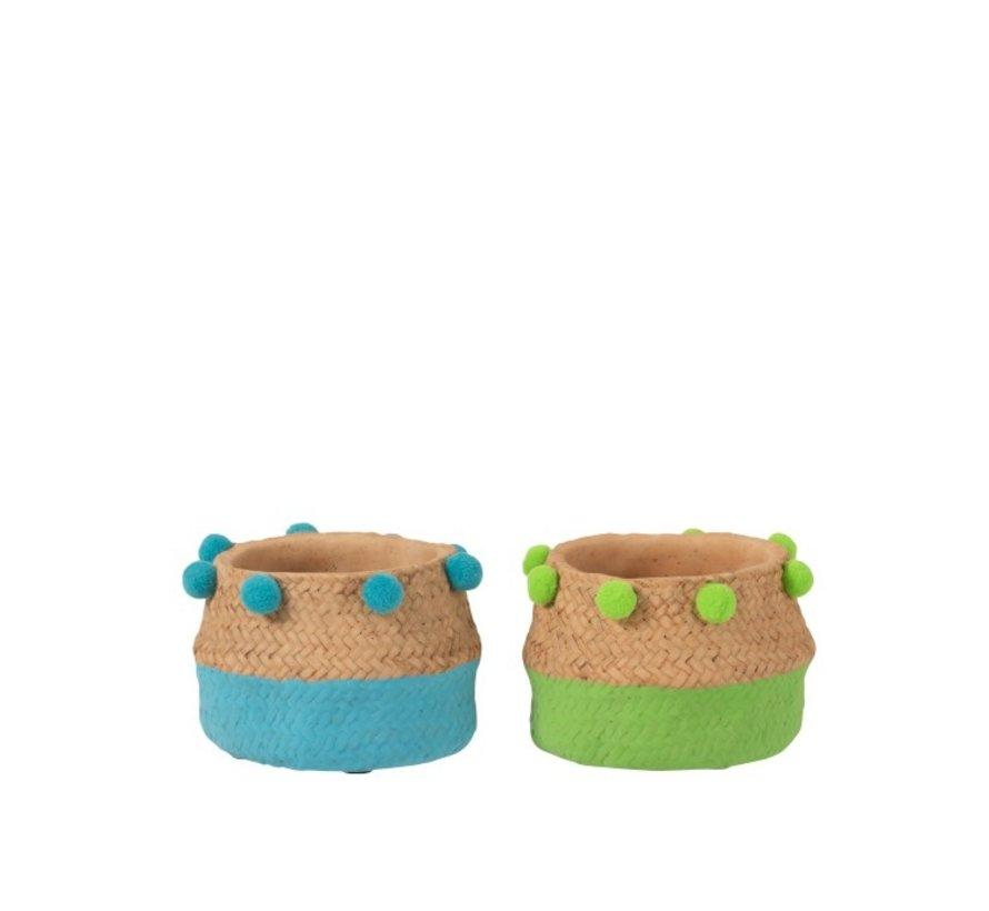 Flowerpot Cement Pompon Blue Green - Small