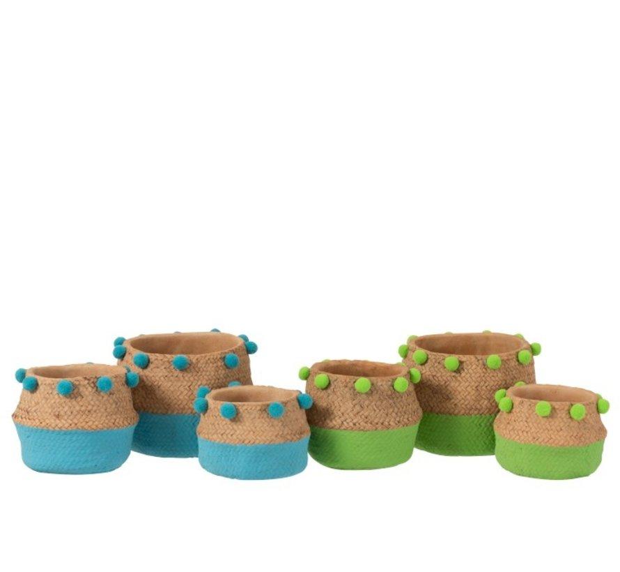 Bloempot Cement Pompon Blauw Groen - Medium