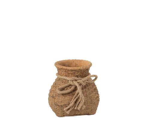 J -Line Flowerpot Cement Bag Cord Natural Brown - Small