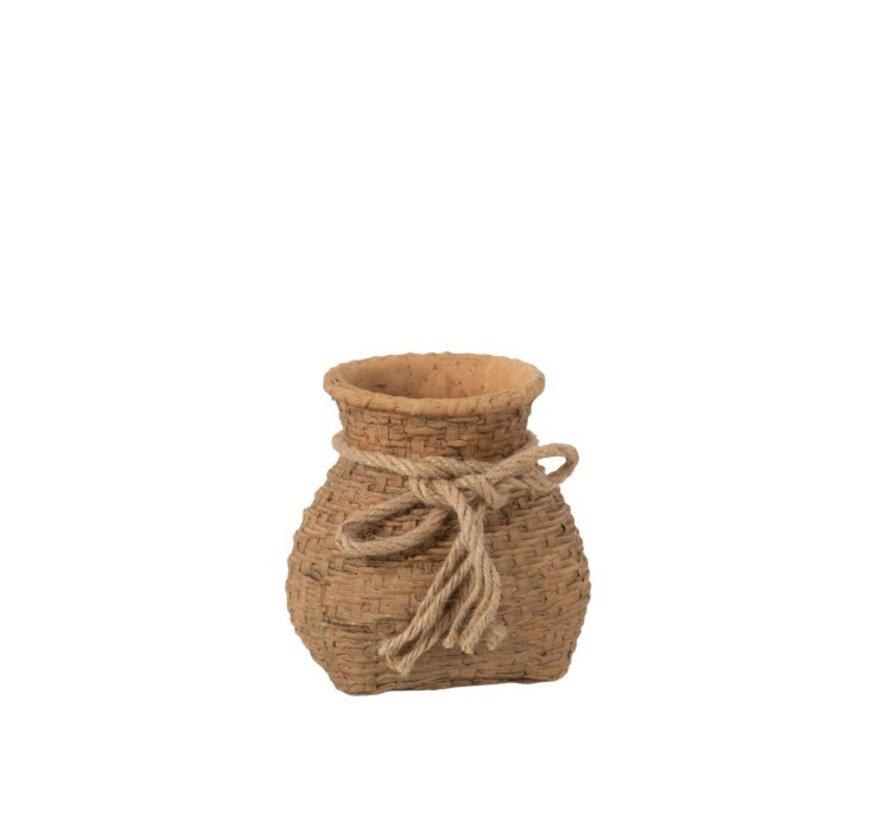 Flowerpot Cement Bag Cord Natural Brown - Small