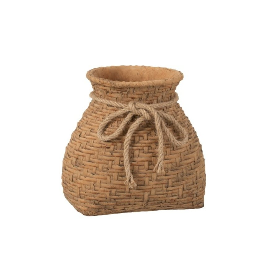 Flowerpot Cement Bag Cord Natural Brown - Large