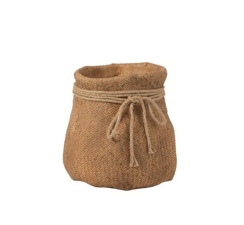J-Line Flowerpot Cement Bag Cord Natural Brown - Extra Large