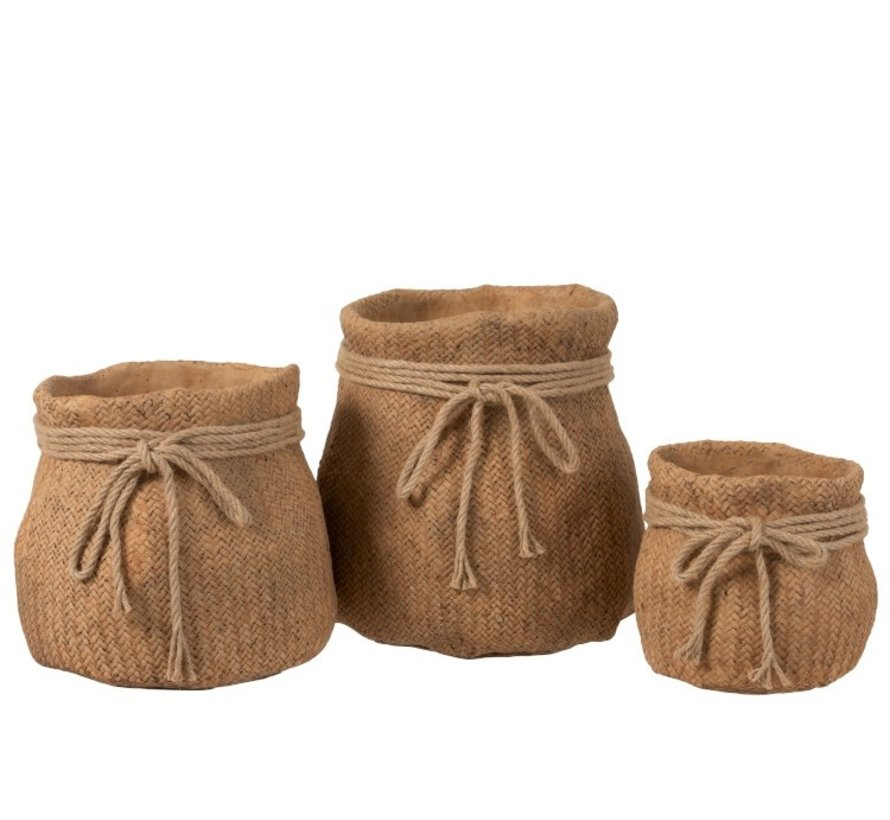 Flowerpot Cement Bag Cord Natural Brown - Extra Large