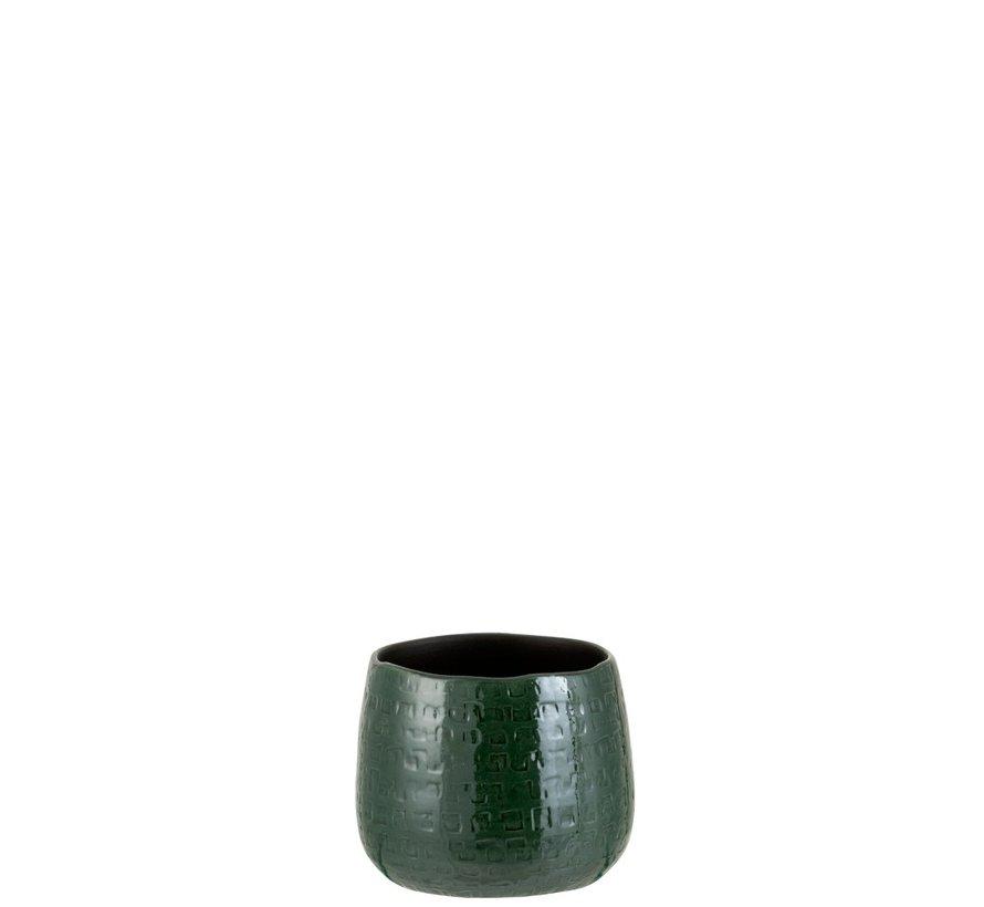 Bloempot Rond Keramiek Patroon Groen - Small