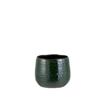 J -Line Bloempot Rond Keramiek Patroon Groen - Medium