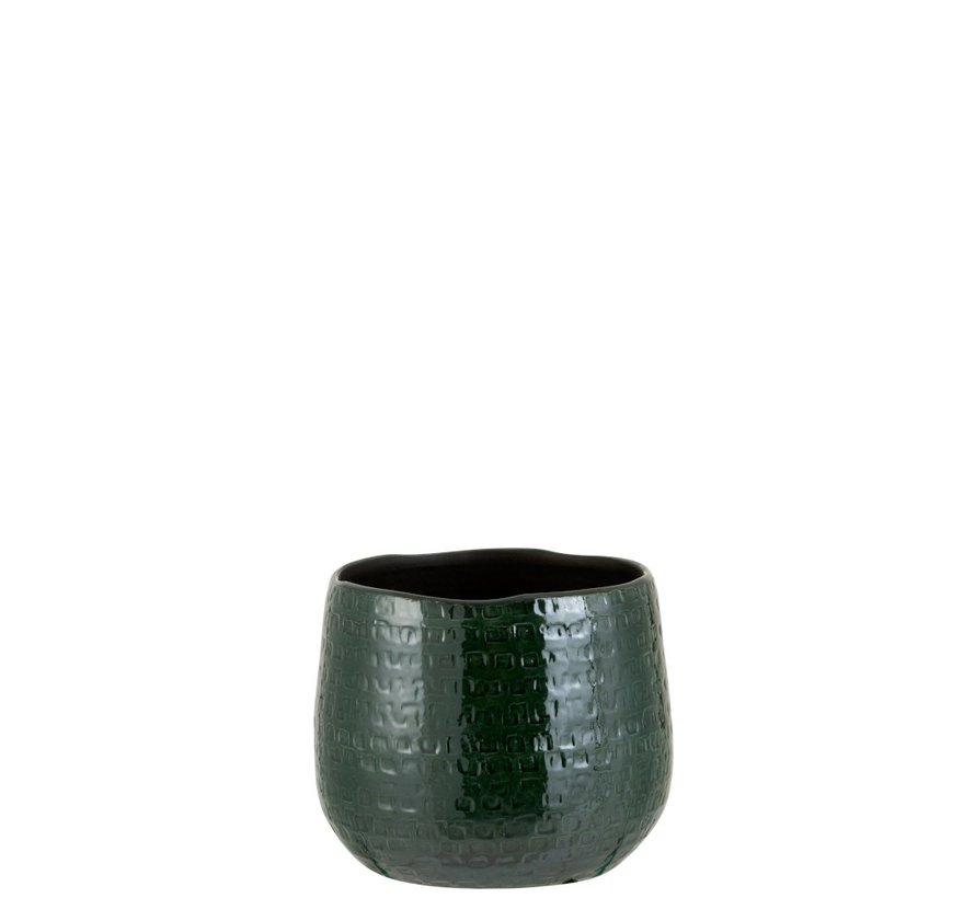 Bloempot Rond Keramiek Patroon Groen - Medium