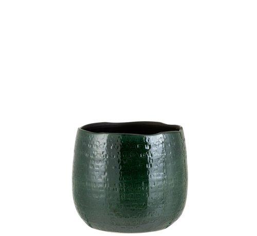 J -Line Flowerpot Round Ceramic Pattern Green - Large