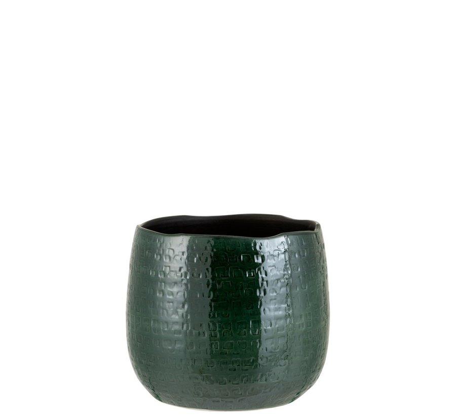 Bloempot Rond Keramiek Patroon Groen - Large