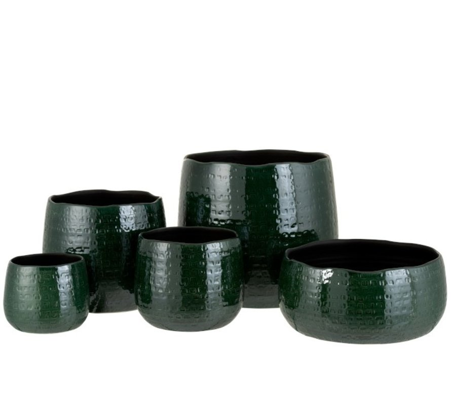 Flowerpot Round Ceramic Pattern Green - Large