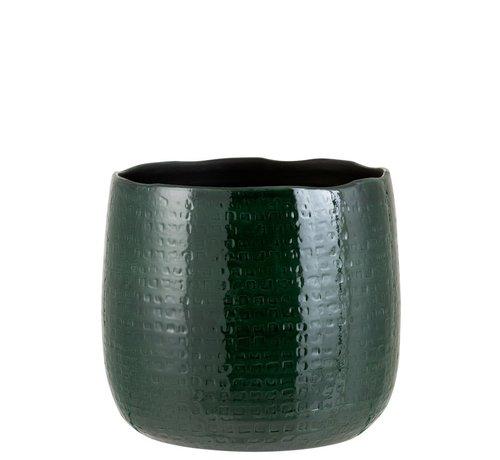 J -Line Flowerpot Round Ceramic Pattern Green - Extra Large