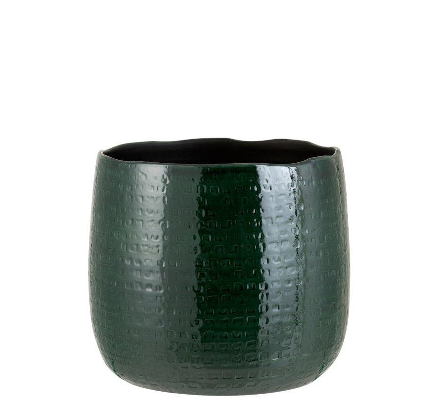 Flowerpot Round Ceramic Pattern Green - Extra Large