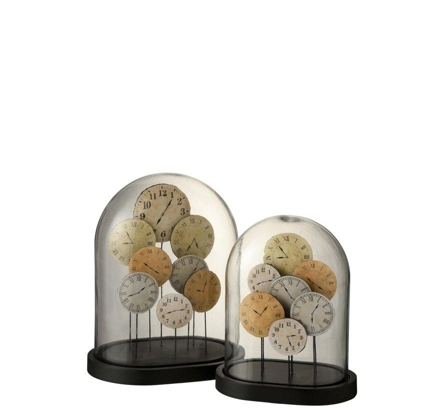 Decoratie Stolp Glas Klokken Transparant Lichtbruin - Large