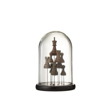 J-Line Decoratie Stolp Glas Schaakstukken Transparant Bruin - Small