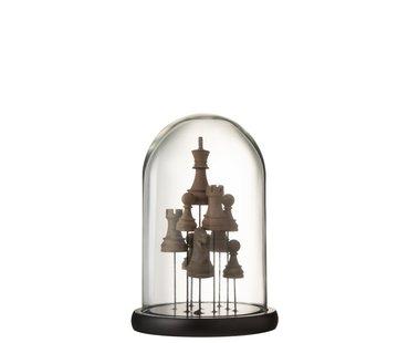 J -Line Decoratie Stolp Glas Schaakstukken Transparant Bruin - Small
