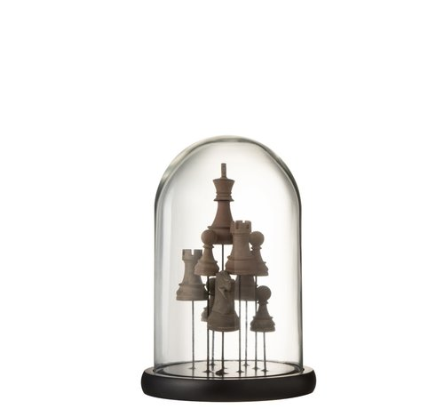 J -Line Decoration Stolp Glass Chess Transparent Brown - Small