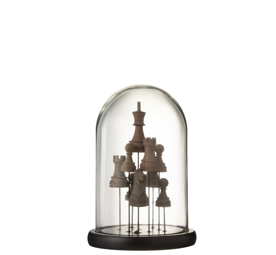 Decoration Stolp Glass Chess Transparent Brown - Small