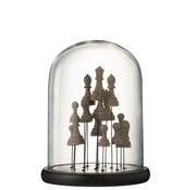 J -Line Decoratie Stolp Glas Schaakstukken Transparant Bruin - Medium