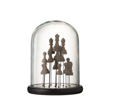 J-Line Decoratie Stolp Glas Schaakstukken Transparant Bruin - Medium