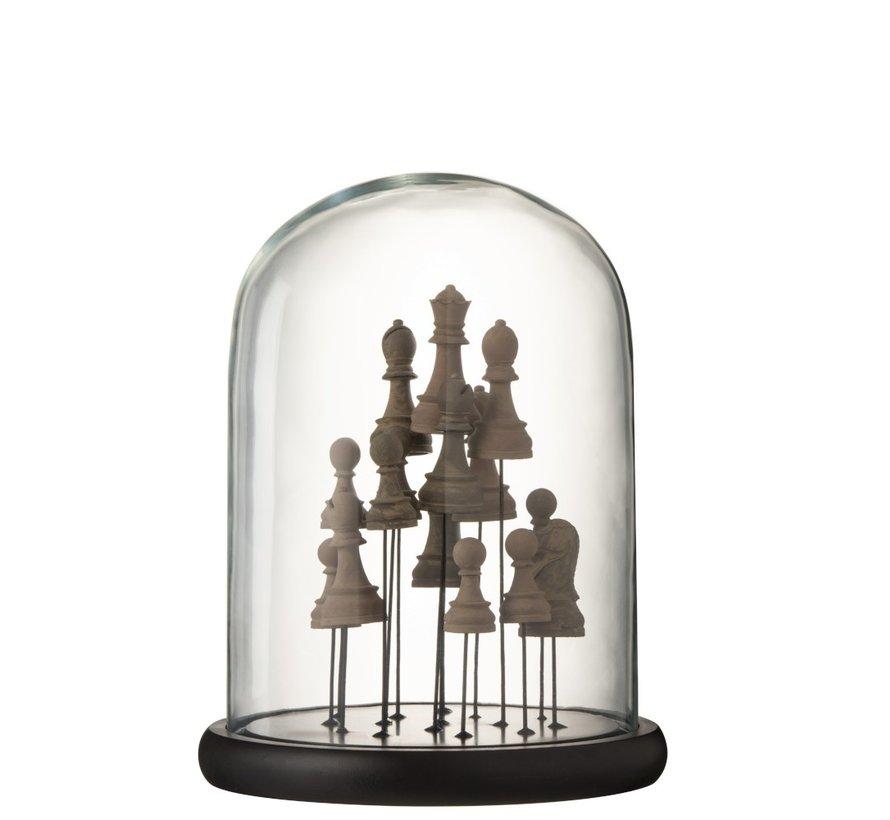 Decoratie Stolp Glas Schaakstukken Transparant Bruin - Medium