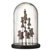 J -Line Decoratie Stolp Glas Schaakstukken Transparant Bruin - Large