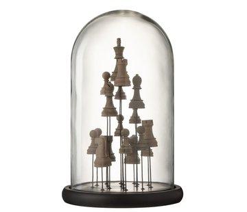J-Line Decoratie Stolp Glas Schaakstukken Transparant Bruin - Large