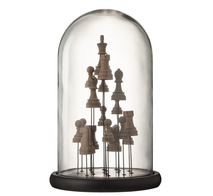 Decoratie Stolp Glas Schaakstukken Transparant Bruin - Large