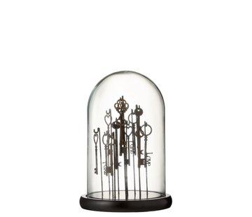 J -Line Decoration Stolp Keys Dark Transparent Glass - Small